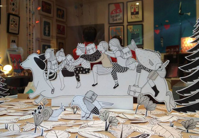Papercut window display by French illustrator Knapfla