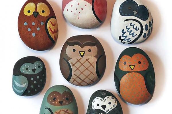 DIY Painted Owl Rocks
