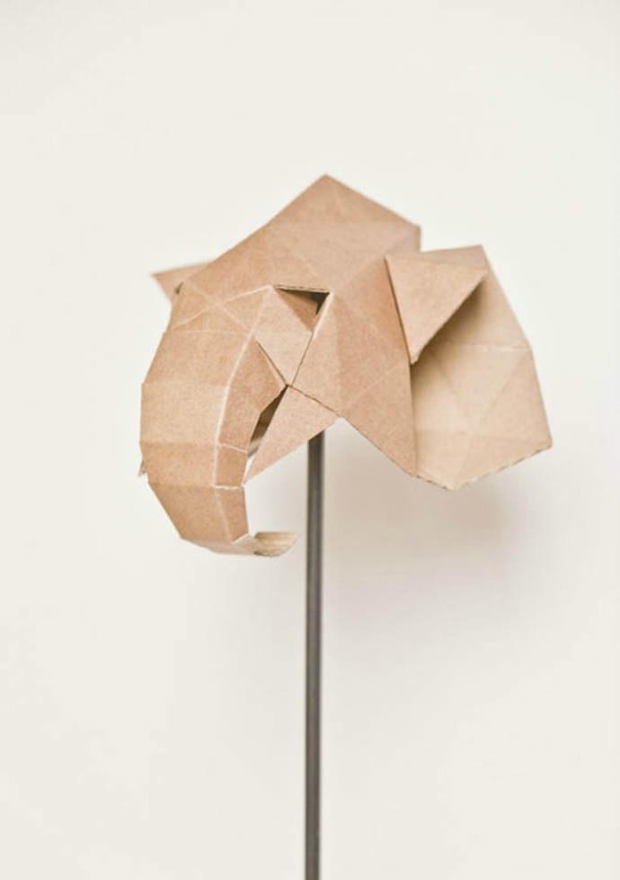 Cardboard Elephant Trophy Paper Craft