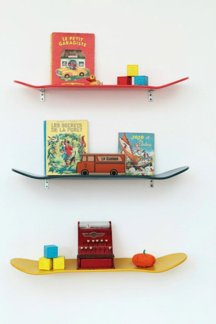 Handmade skateboard shelves