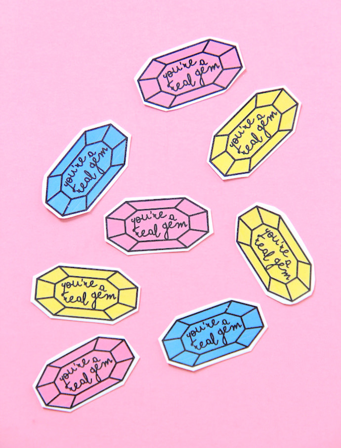Printable Gem Valentine's Day Stickers