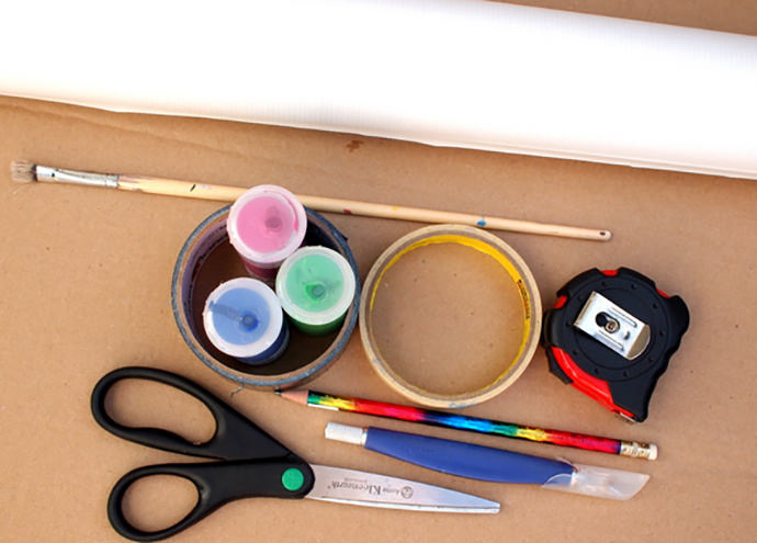 Materials for DIY Collapsible Cardboard Tent Craft