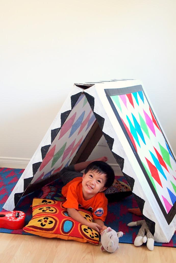 DIY Collapsible Cardboard Tent Craft