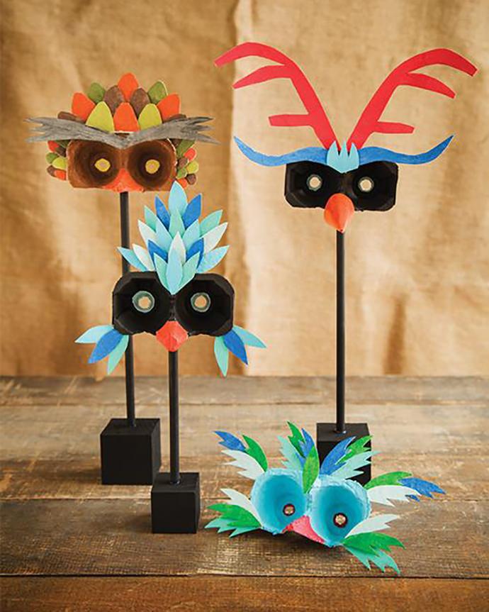 Egg Carton Bird Masks