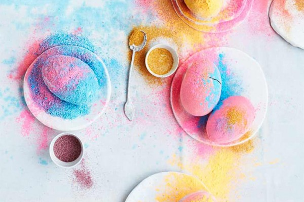 DIY Holi Salt Powder Eggs via Sweet Paul