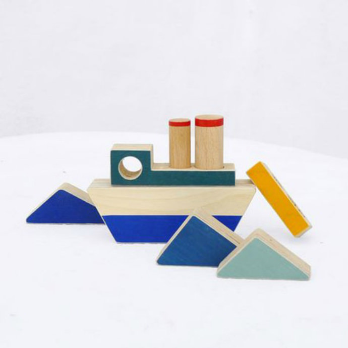 Wooden Boat & Wave Stacking Toy