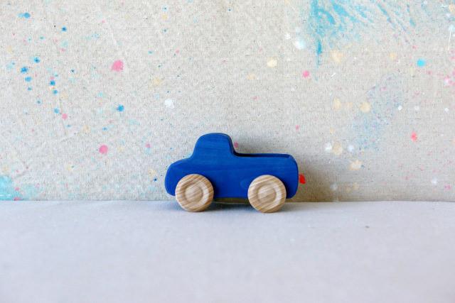 Blue wooden truck toy