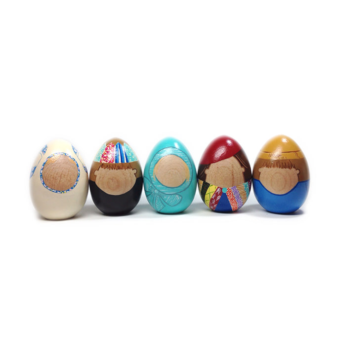 recreate your family as custom wooden eggs