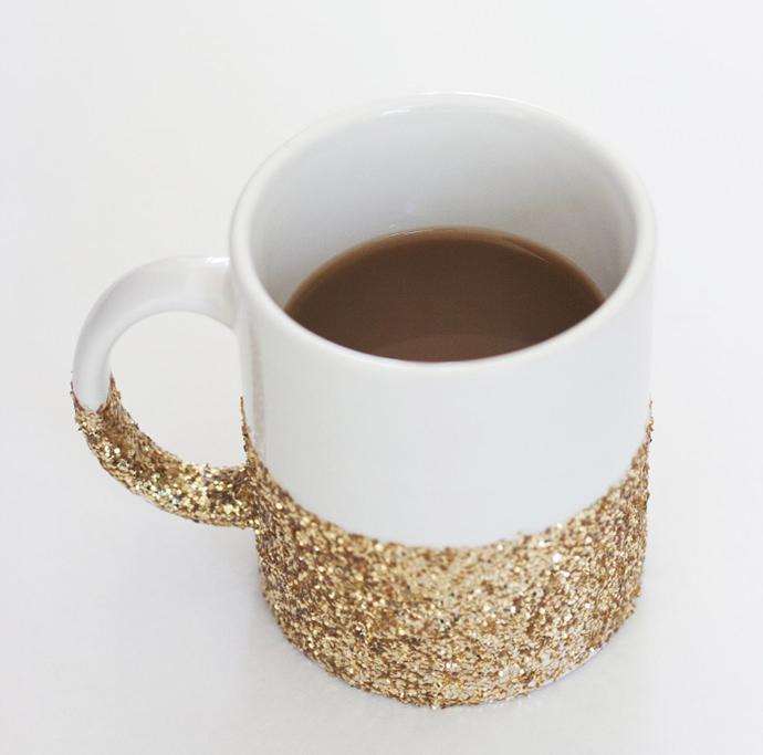 DIY glitter dipped coffee mug