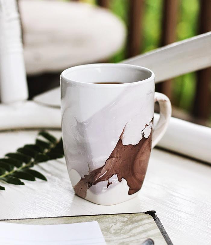 DIY watercolor mug made with nail polish