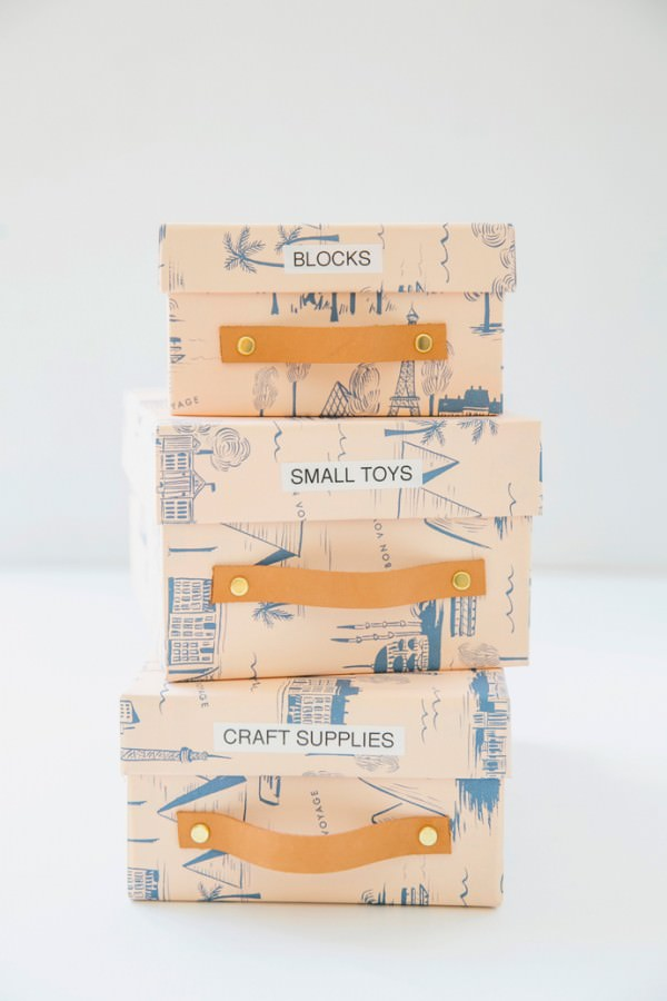 Recycled shoe box storage containers