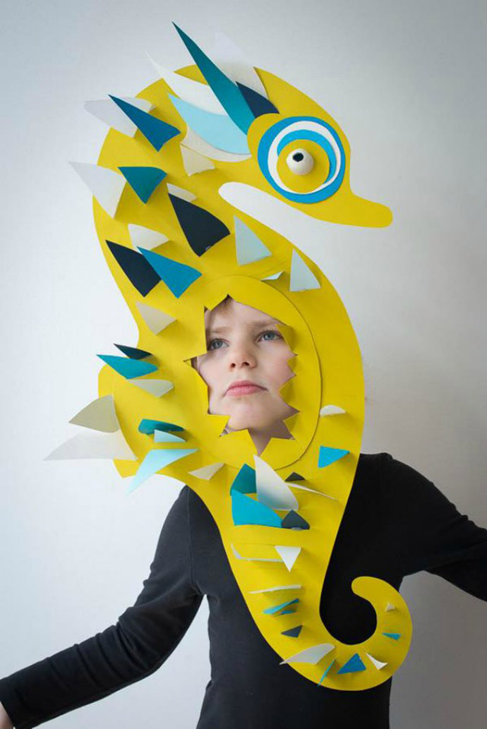 Seahorse mask paper craft for kids