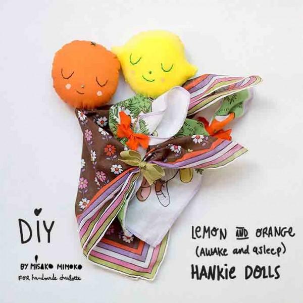 Easy-Sew Fabric Fruit Head Handkerchief Dolls Tutorial