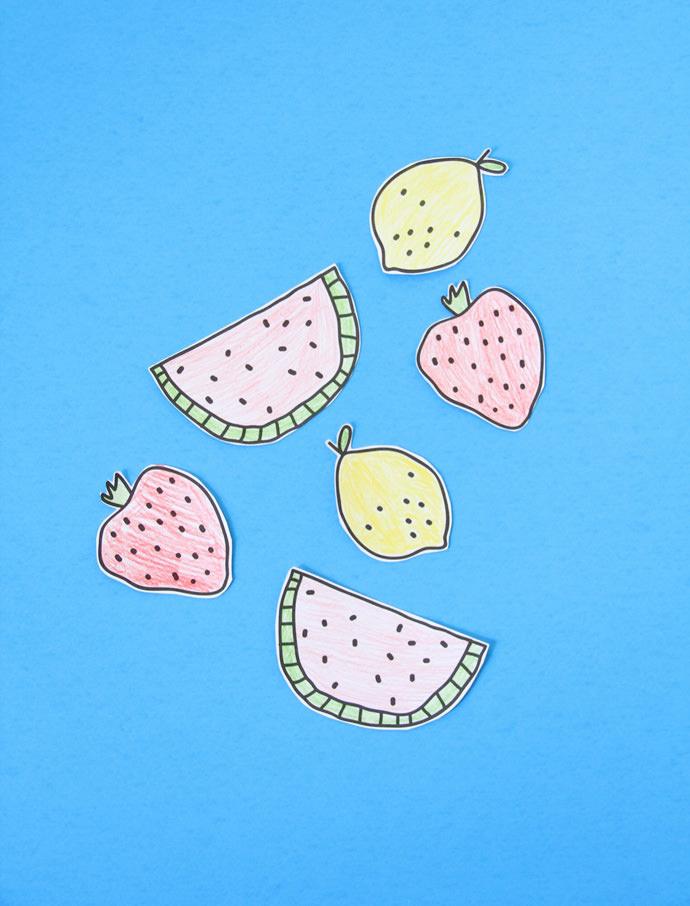 Printable DIY Coloring Fruit Stickers