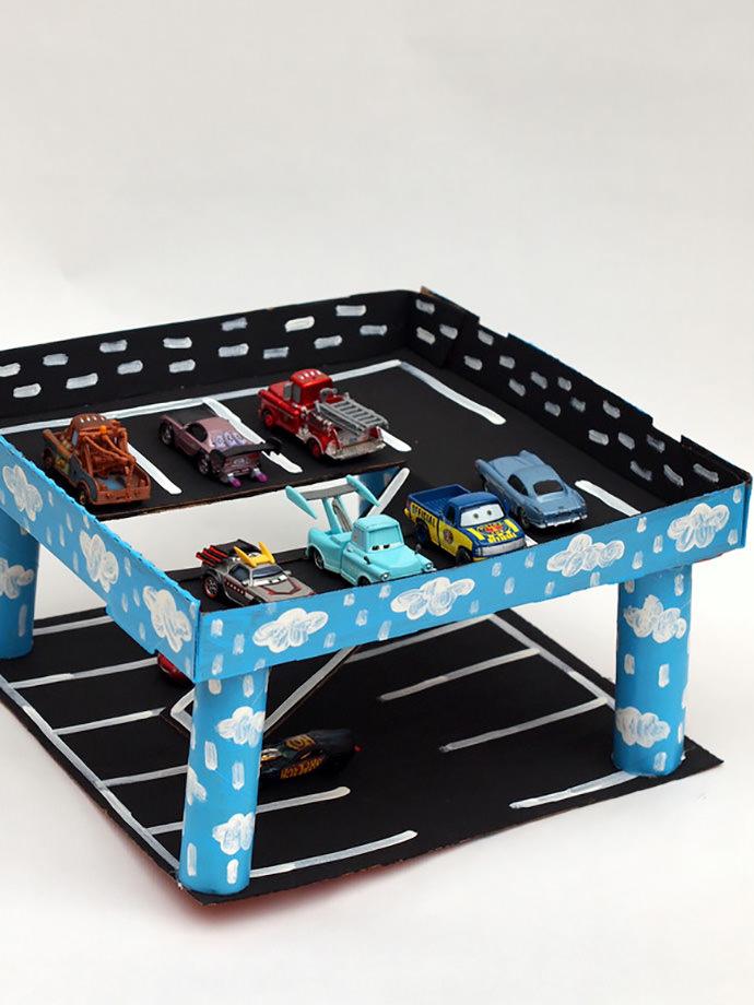 Recycled Pizza Box Car Garage Cardboard Craft
