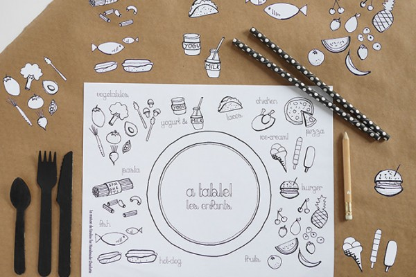DIY Coloring Printable Placemat for Kids