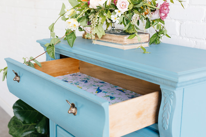DIY Waverly Fabric Drawer Lining