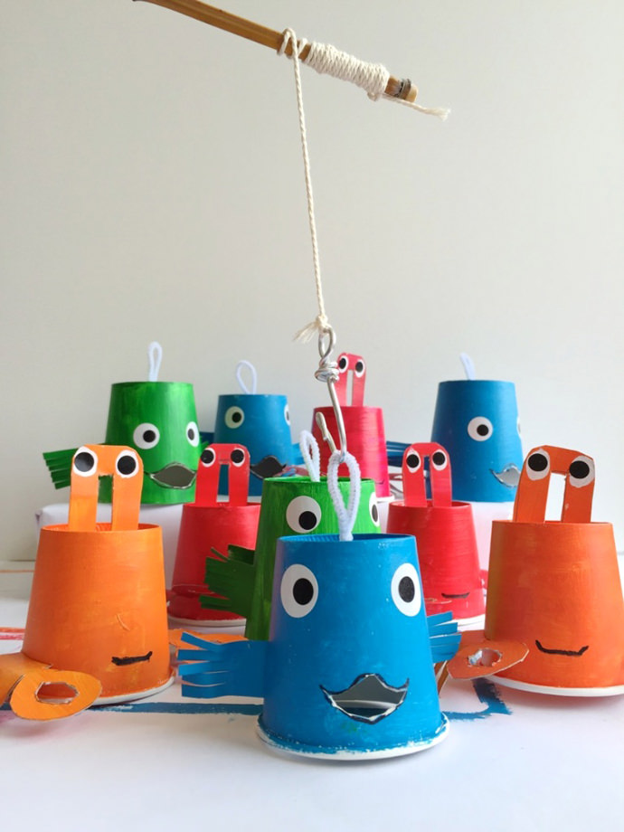 Reel in the fun with a diy paper cup fishing game for How do you play go fish