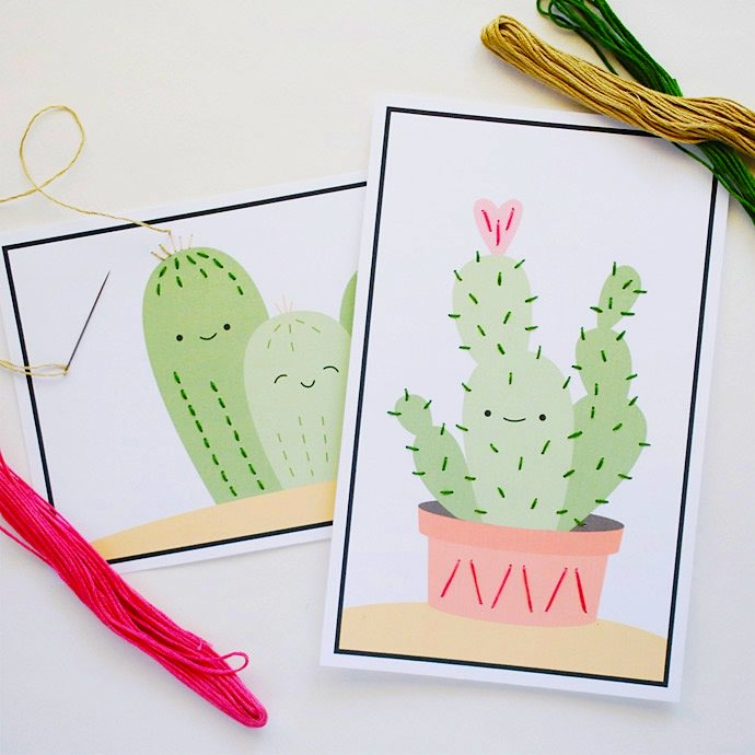 DIY Easy Cactus Stitching Cards for Kids