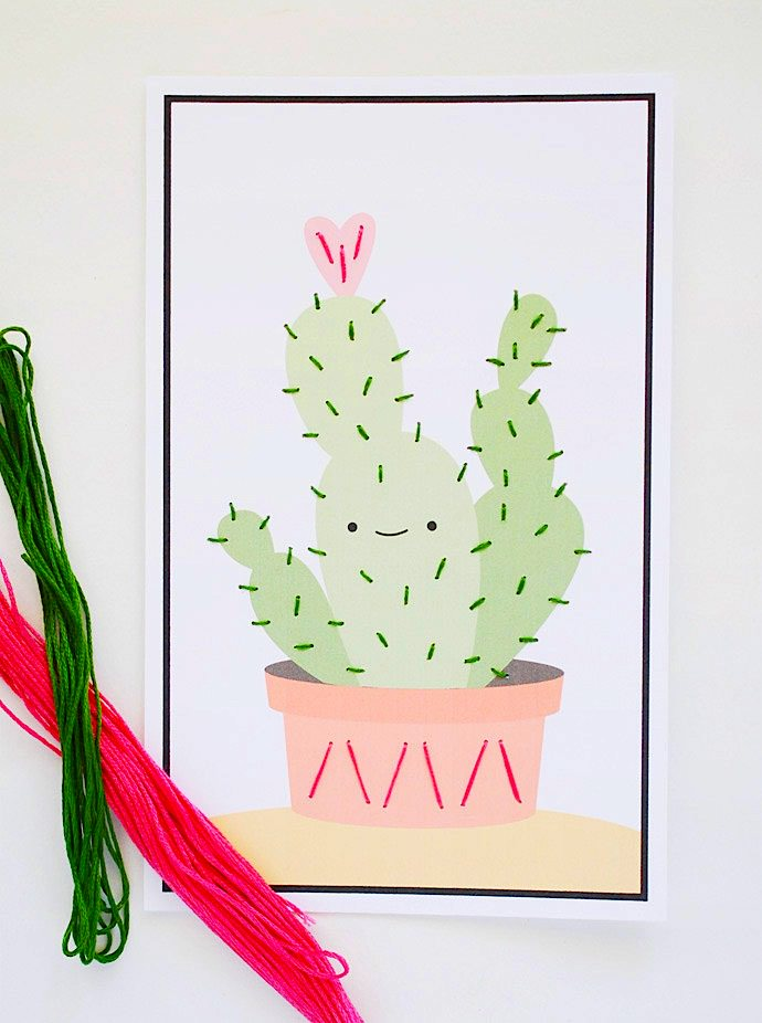 friendly cacti lacing card