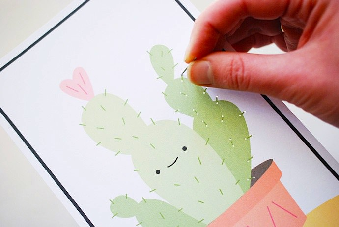 Easy DIY Cactus Stitching Cards for Kids