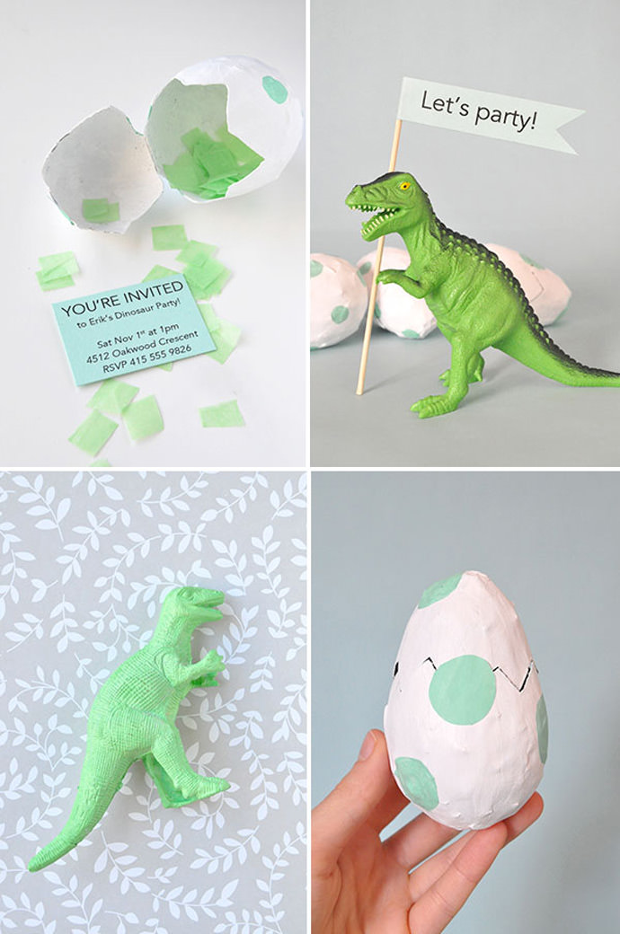 DIY Dinosaur Shell Party Invitations