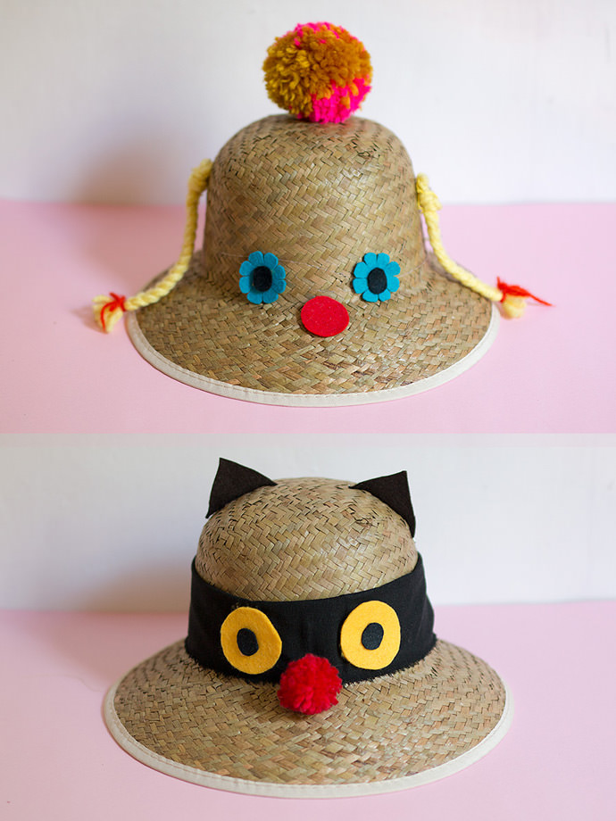 Diy Funny Faced Sunhats Handmade Charlotte