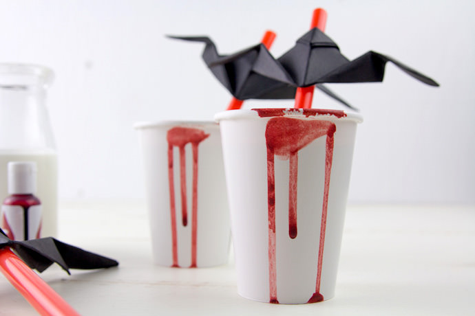 Spooky Red Velvet Hot Chocolate with Origami Bat Topper