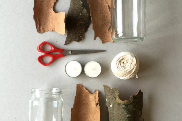 Materials to Make a Bark Lantern