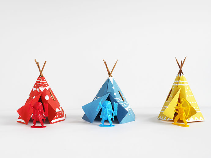 Printable papercraft teepee village handmade charlotte for Teepee craft template