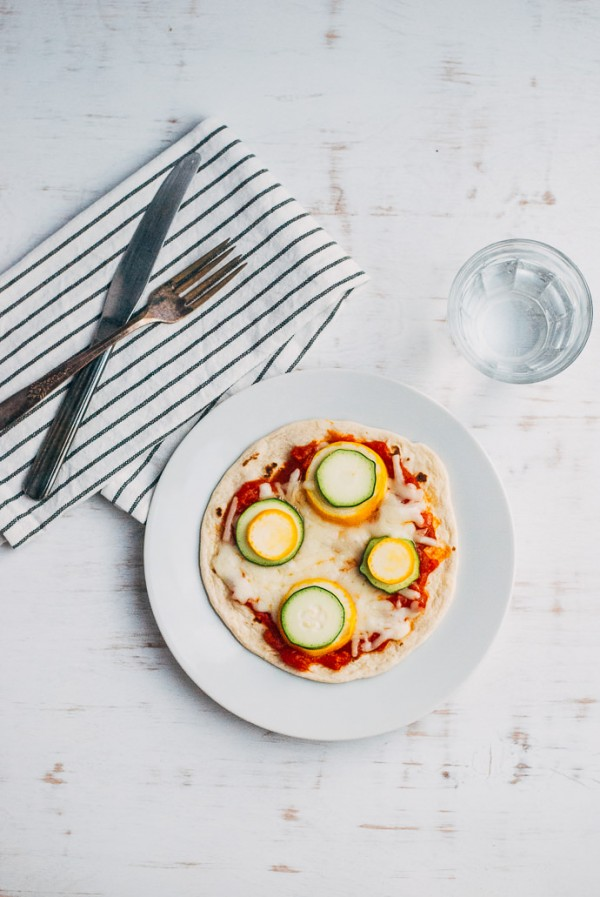 Simple Dots and Stripes Vegetable Flatbread Pizzas
