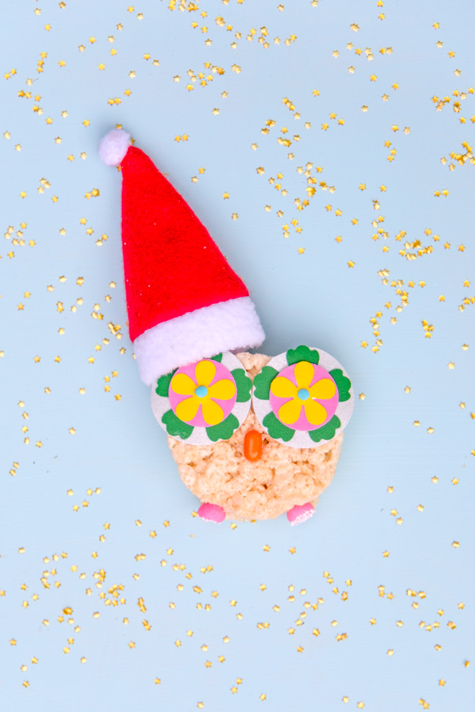 DiY Holiday Hootie Owls (super fun rice krispies treat recipe!)