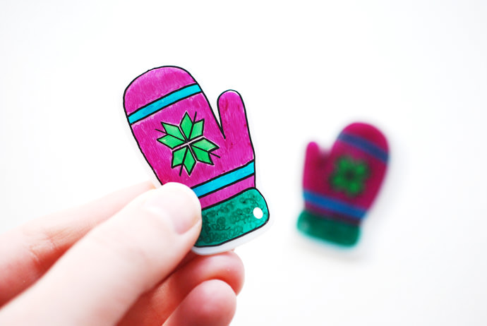 DIY Shrinky-Dink Mitten Garland for Kids