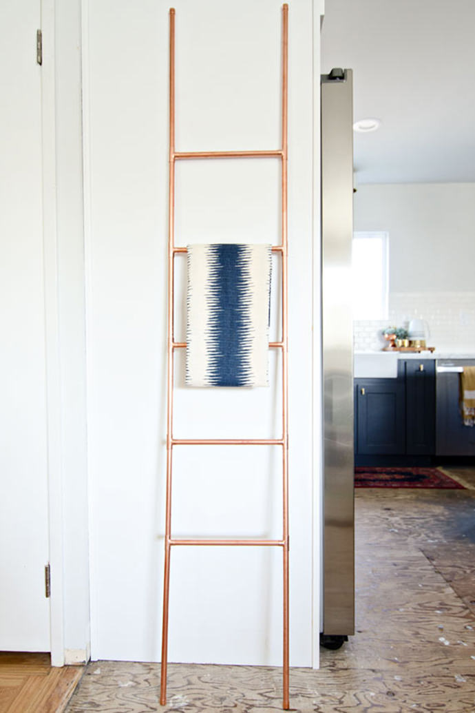 DIY Copper Pipe Ladder, tutorial via Brittany Makes