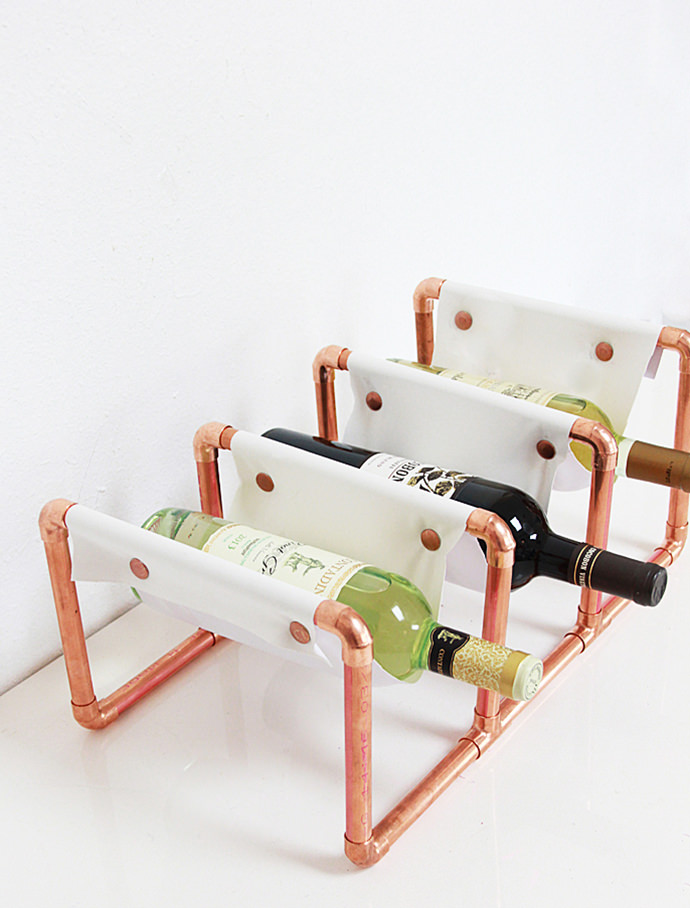 DIY Copper and Leather Wine Holder, tutorial via A Bubbly Life