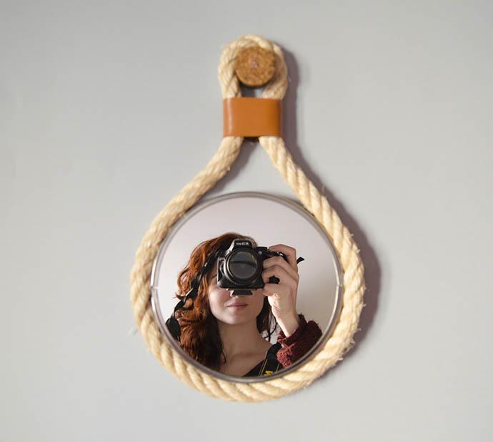 DIY Rope Mirror, tutorial via Fábrica de Imaginación