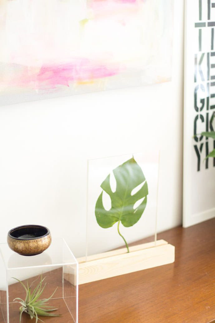 Plexiglass Framed Leaf, tutorial via eHow.