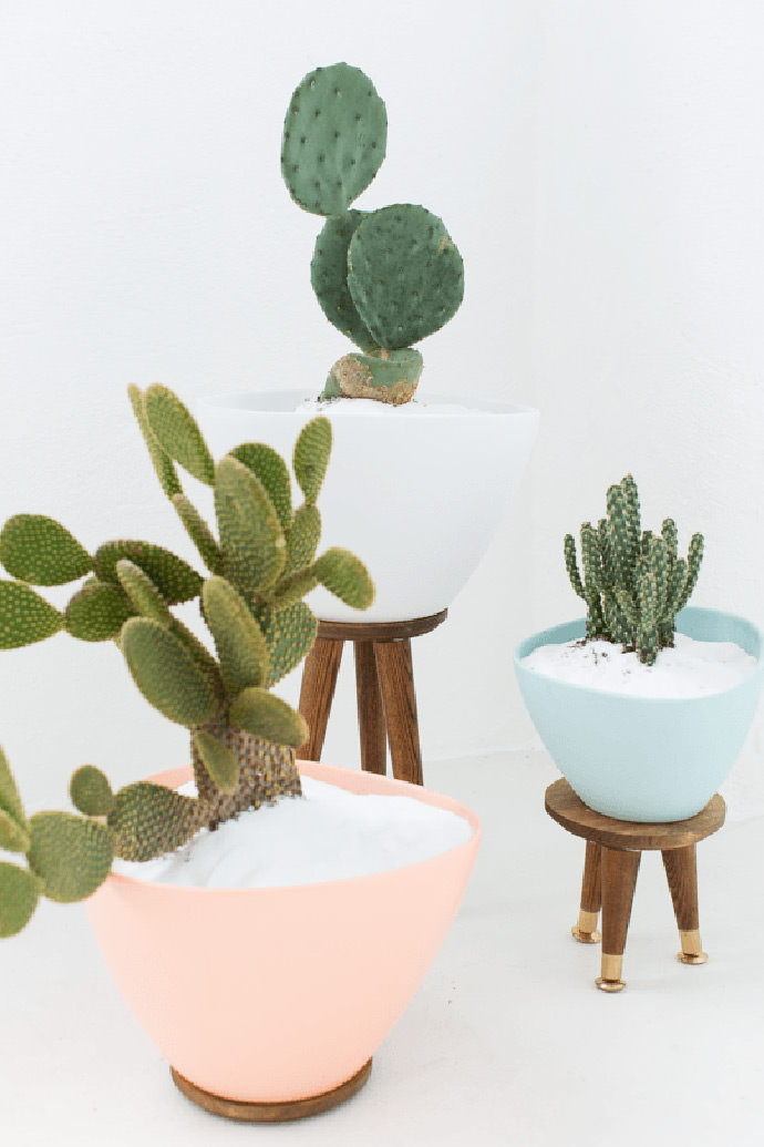 Mid Century Planters, tutorial via Sugar and Cloth