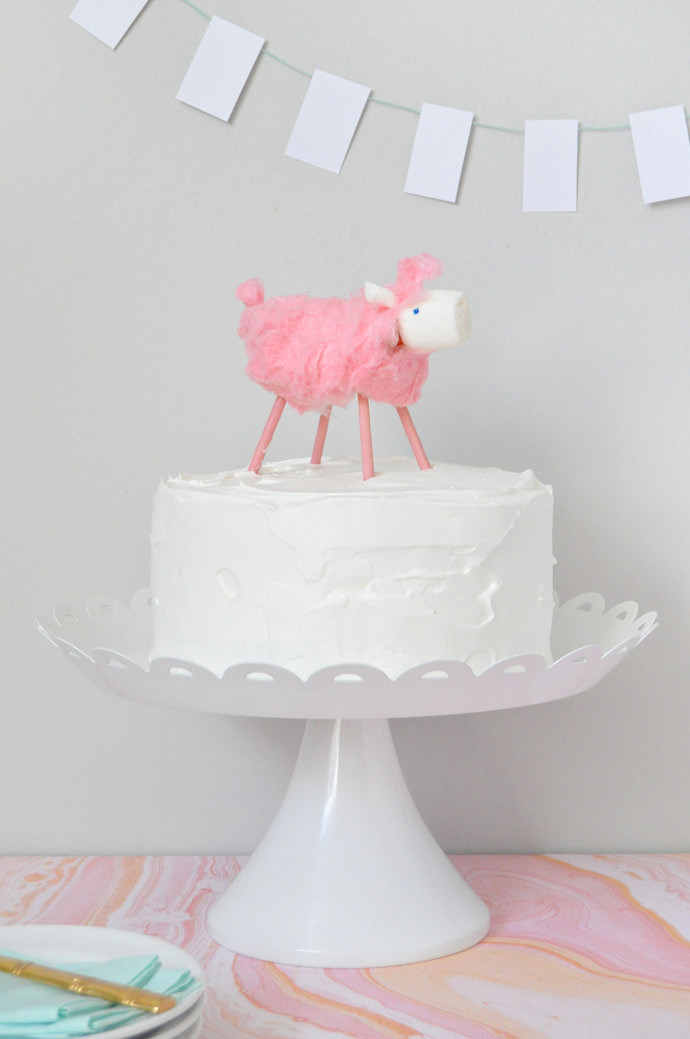 DIY Cotton Candy Lamb Cake Topper