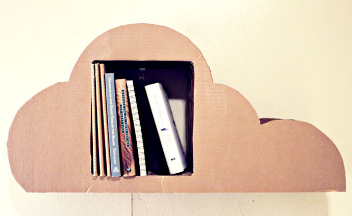 Cardboard Cloud Bookshelf, tutorial via Lucas Ridley