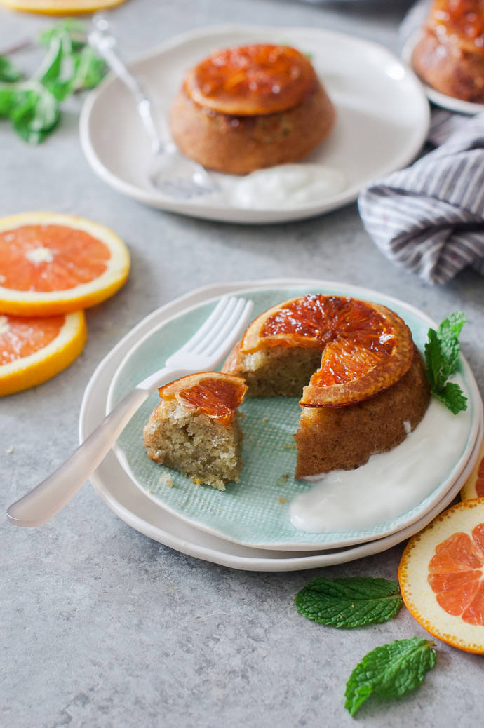 Orange Upside Down Olive Oil Cakes