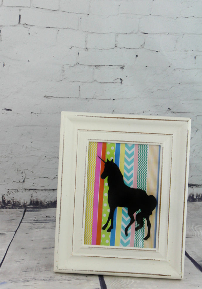 Washi Tape Silhouette Unicorn, tutorial via Totally the Bomb