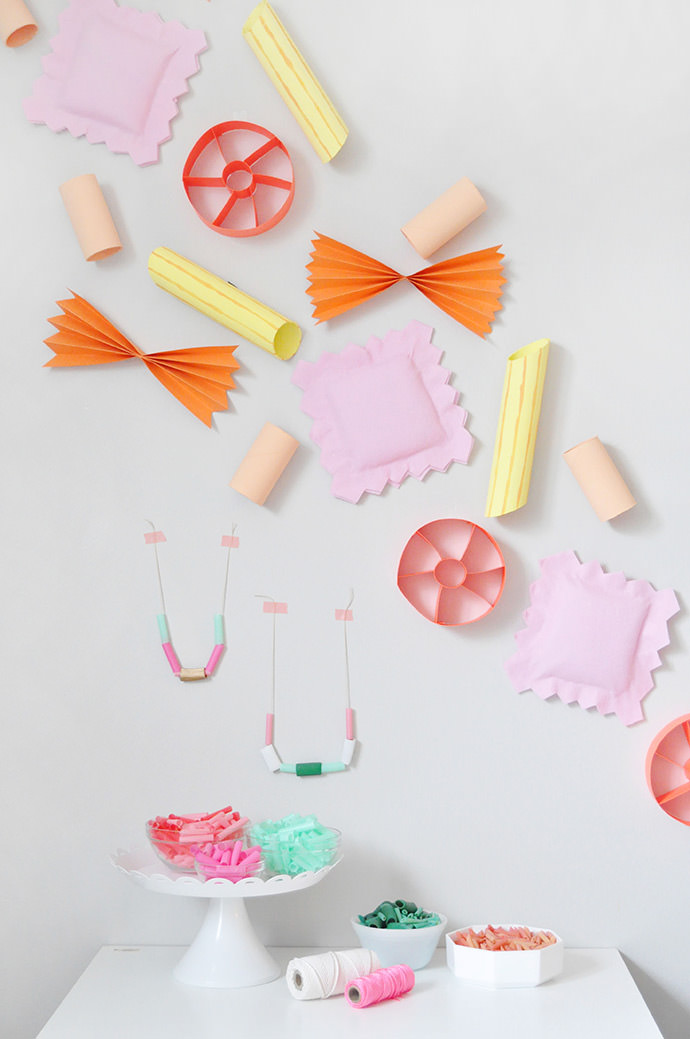 DIY Giant Pasta Necklace Party