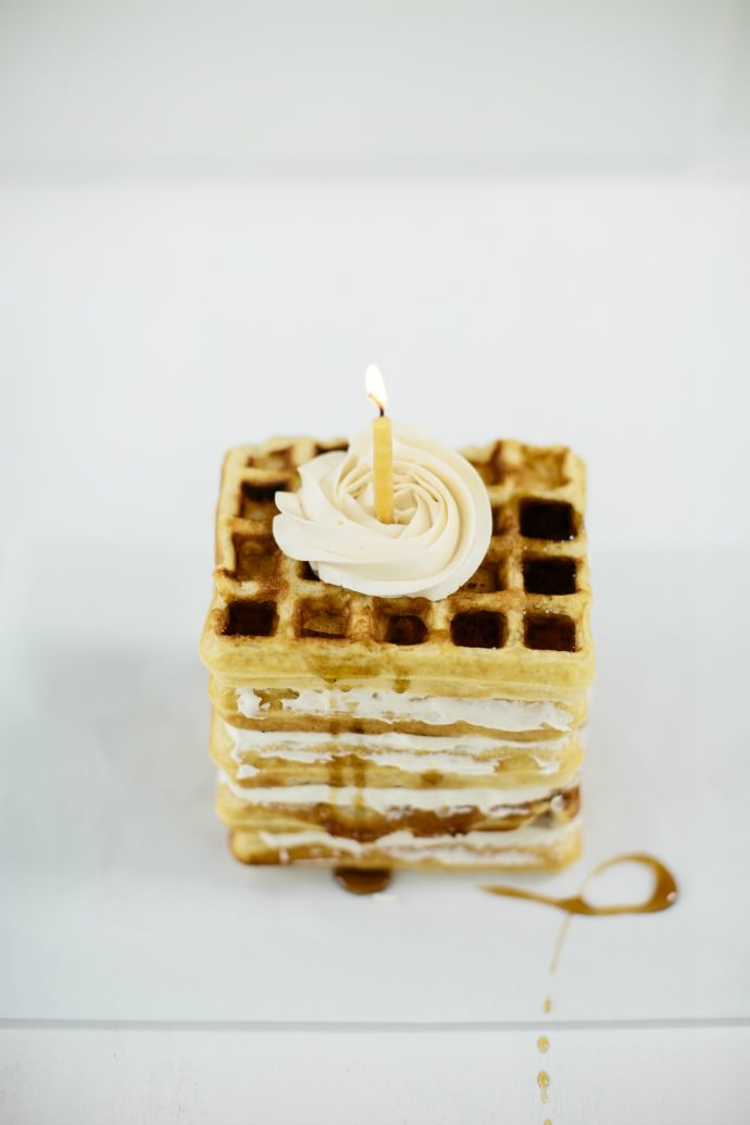Waffle Cake with Maple Buttercream
