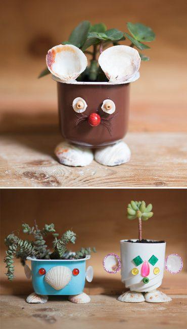 Upcycled Seashell Mini Planters