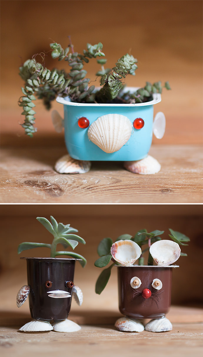 Upcycled Seashell Mini Planters