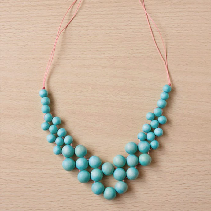DIY Wooden Bead Statement Necklace