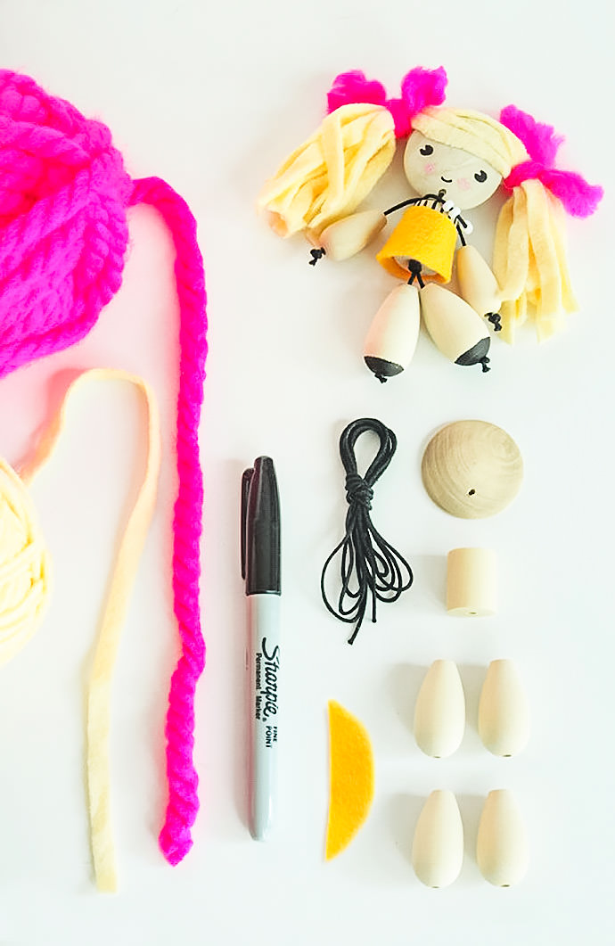 DIY Wooden Bead Dolls, tutorial via Small for Big