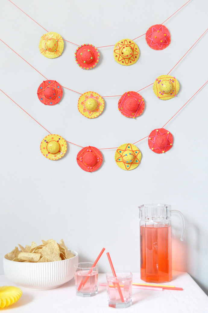 Mini DIY Sombrero Garland for Cinco de Mayo