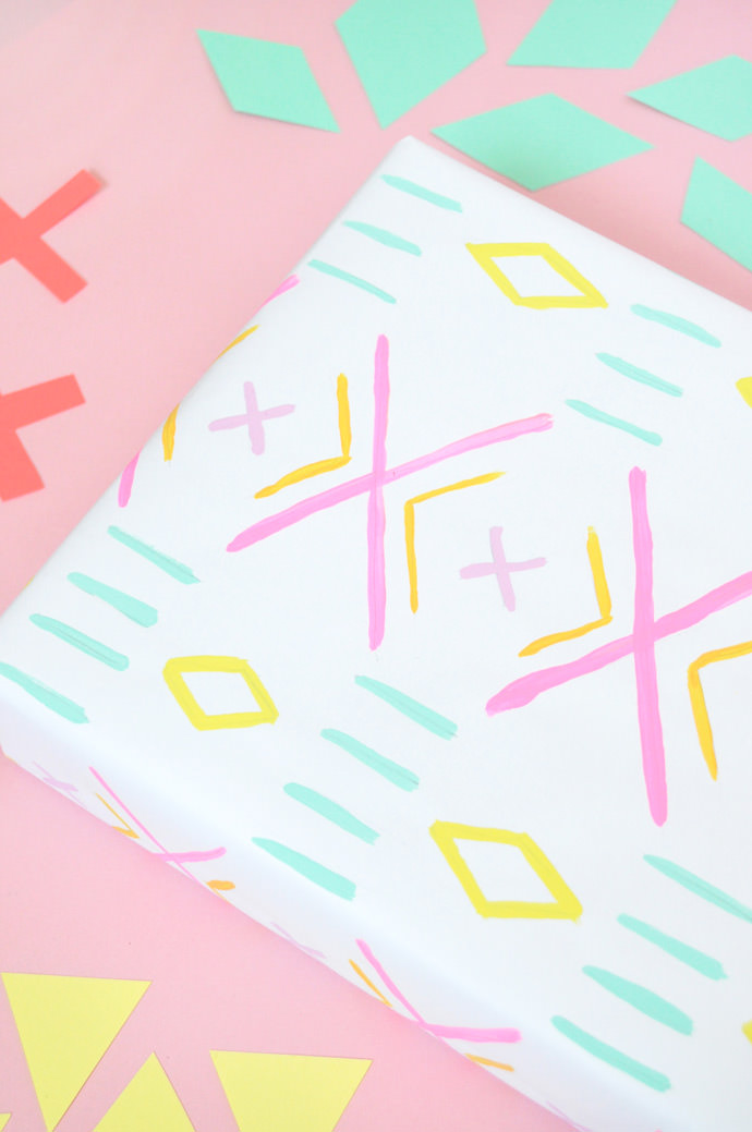 DIY Rainbow Mudcloth Gift Wrap